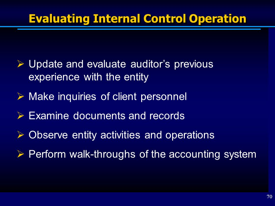 Evaluating Internal Control Operation
