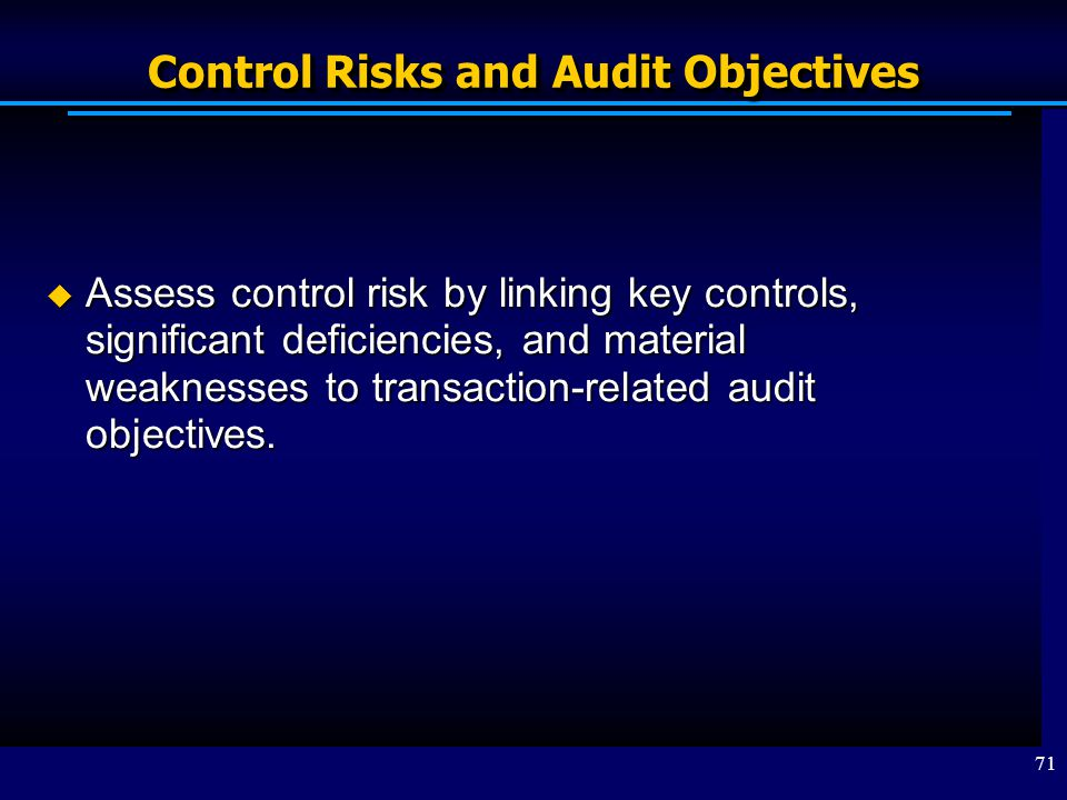 Control Risks and Audit Objectives