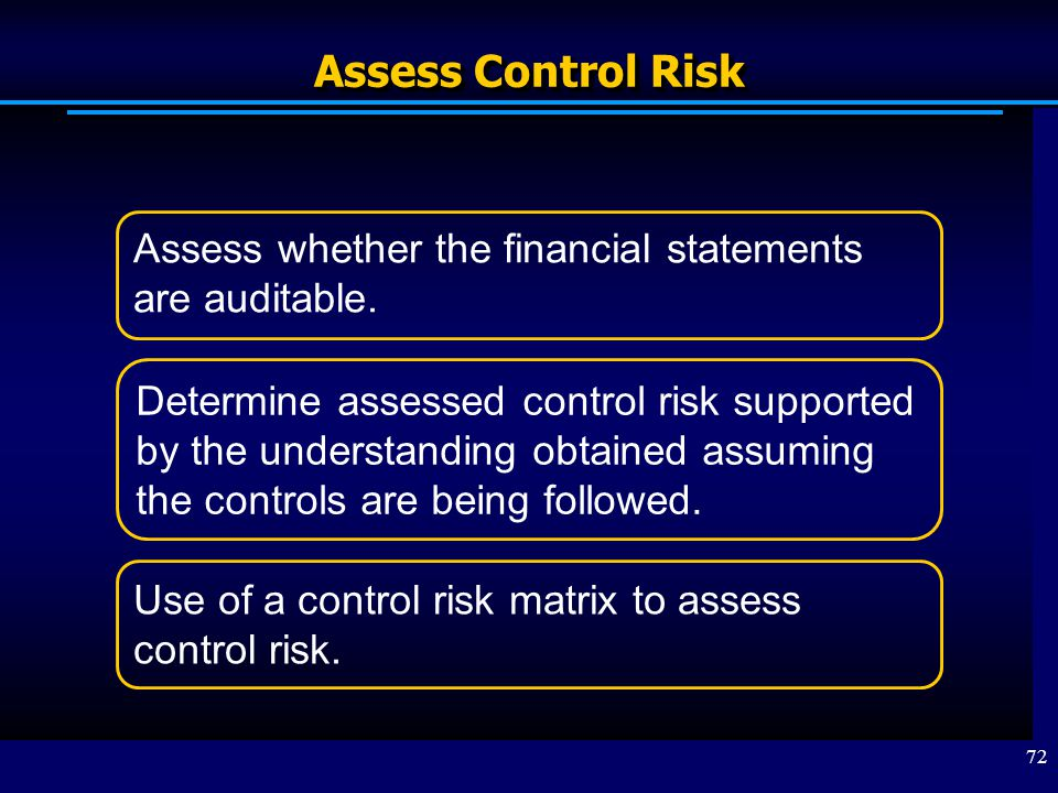 Assess Control Risk Assess whether the financial statements