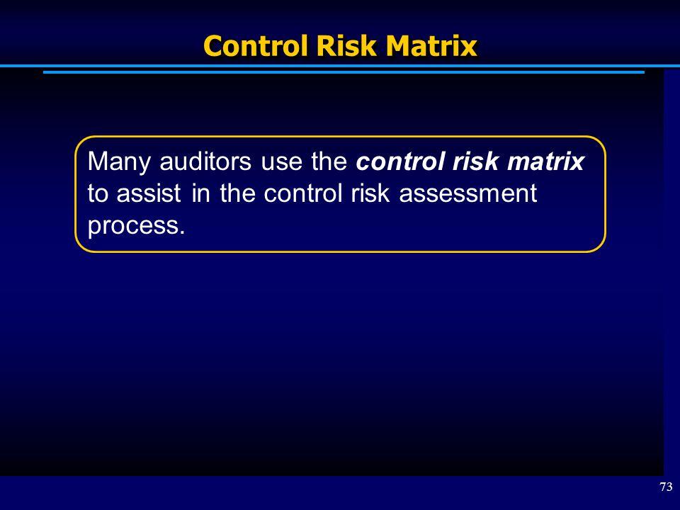 Control Risk Matrix Many auditors use the control risk matrix