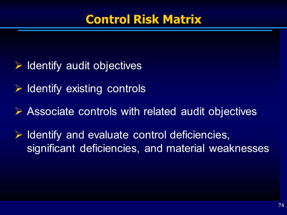 Control Risk Matrix Identify audit objectives