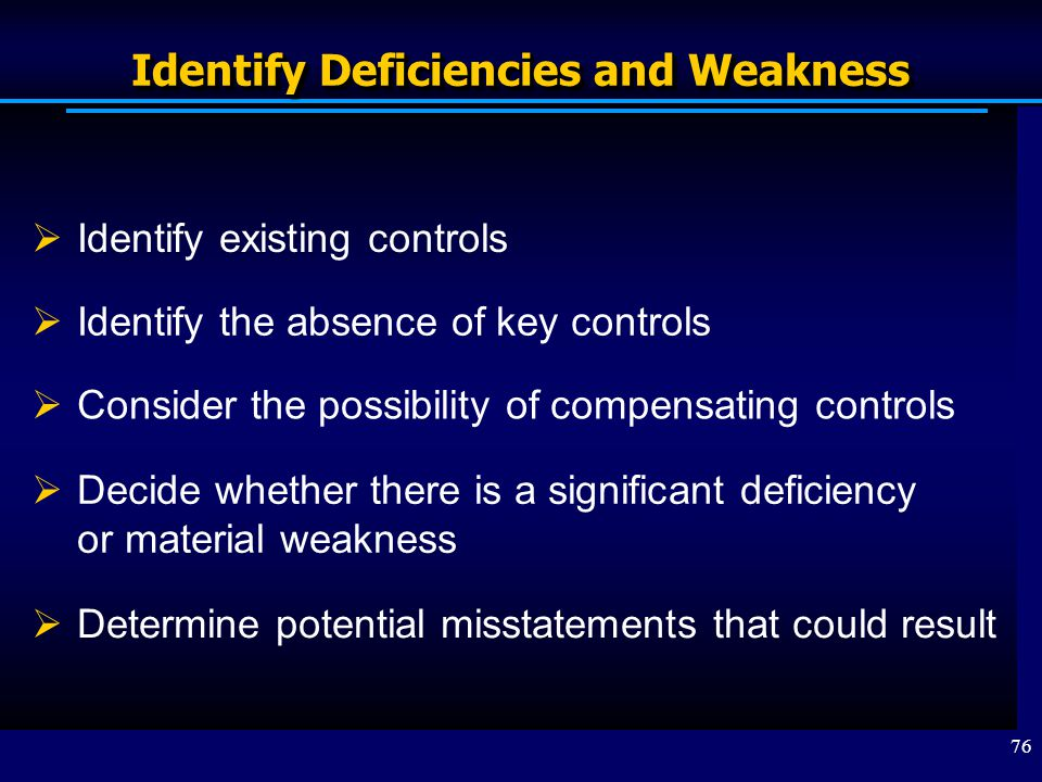 Identify Deficiencies and Weakness