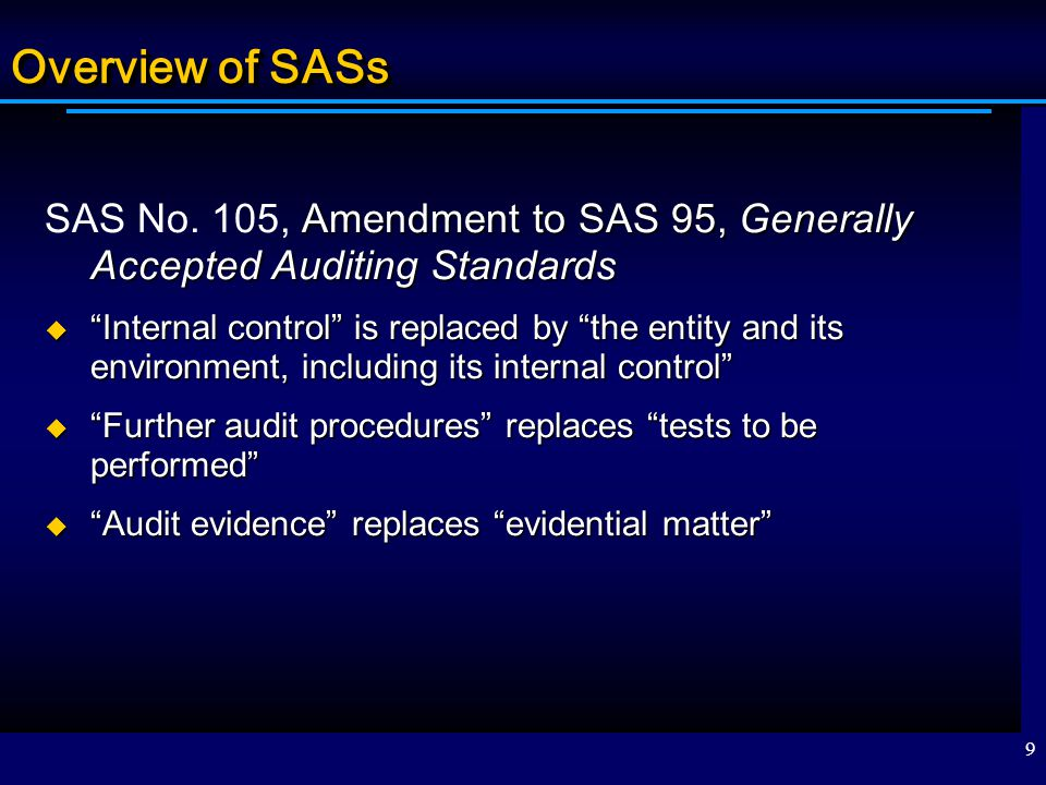 Overview of SASs SAS No. 105, Amendment to SAS 95, Generally Accepted Auditing Standards.
