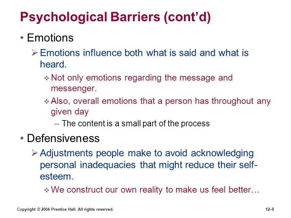 Psychological Barriers (cont'd)