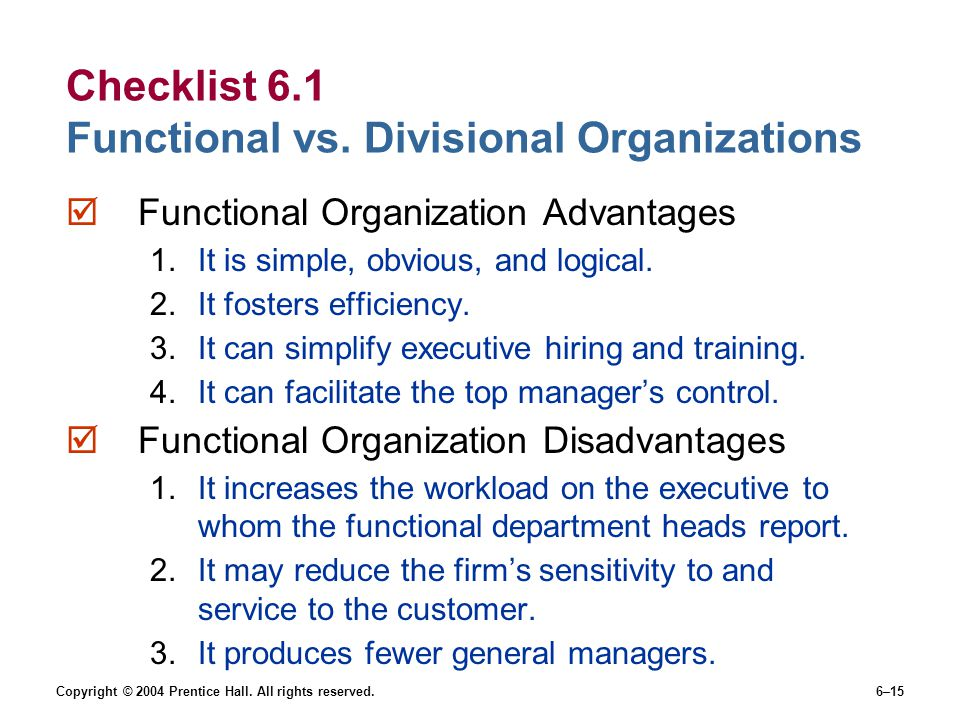 Checklist 6.1 Functional vs. Divisional Organizations