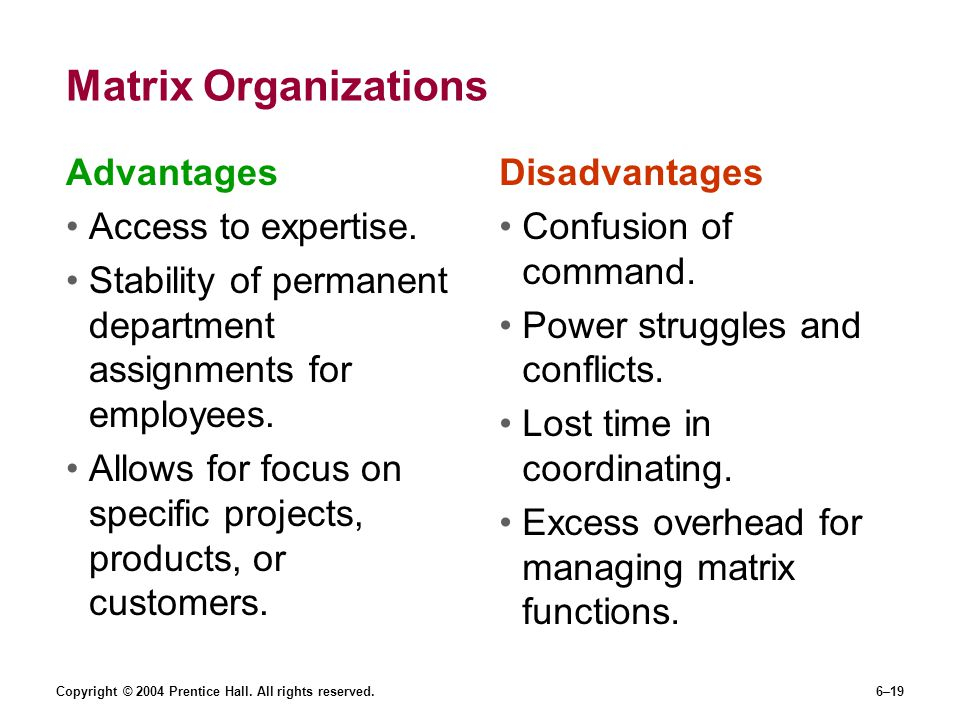 Matrix Organizations Advantages Access to expertise.