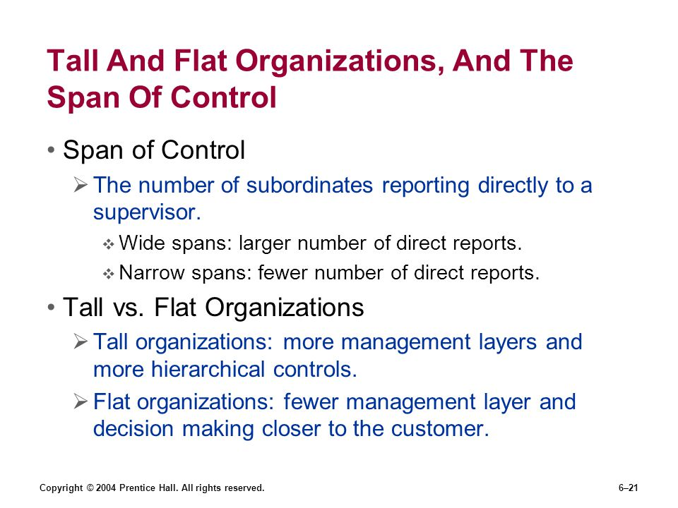Tall And Flat Organizations, And The Span Of Control