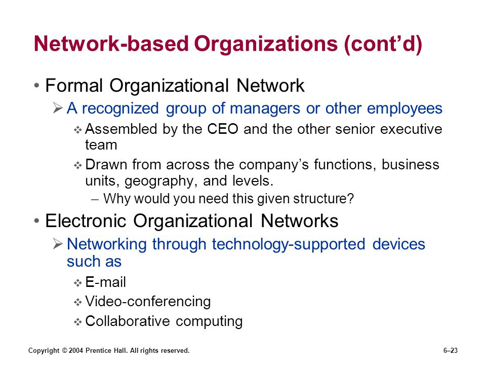 Network-based Organizations (cont'd)