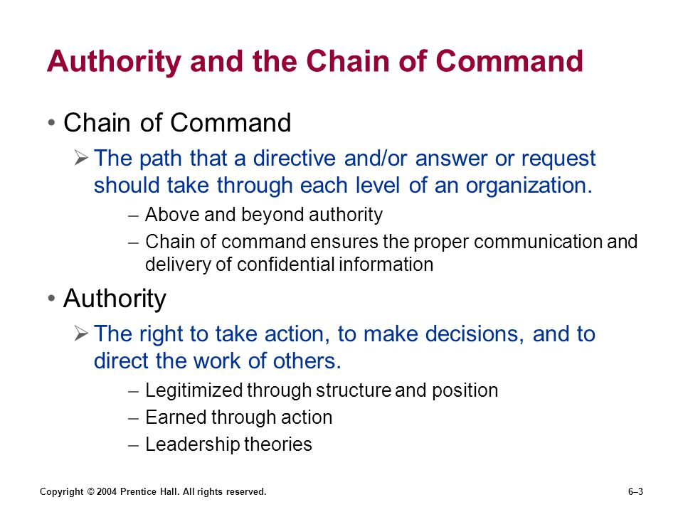 Authority and the Chain of Command