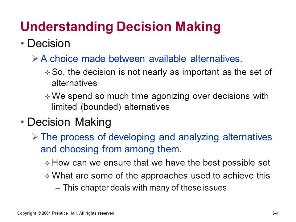 Understanding Decision Making