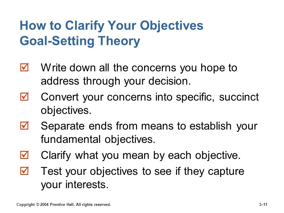 How to Clarify Your Objectives Goal-Setting Theory