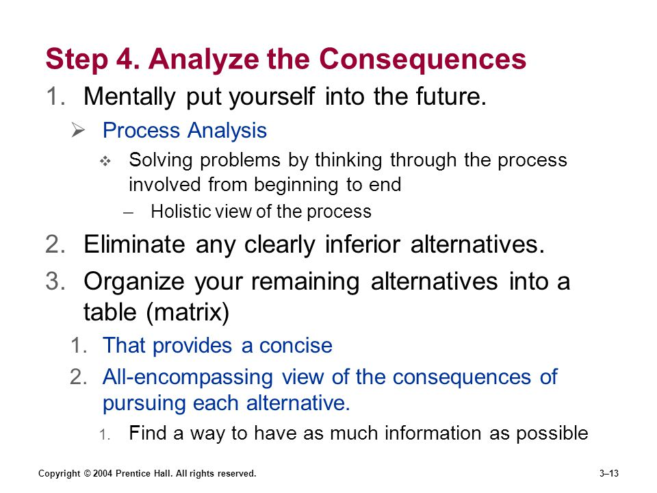 Step 4. Analyze the Consequences
