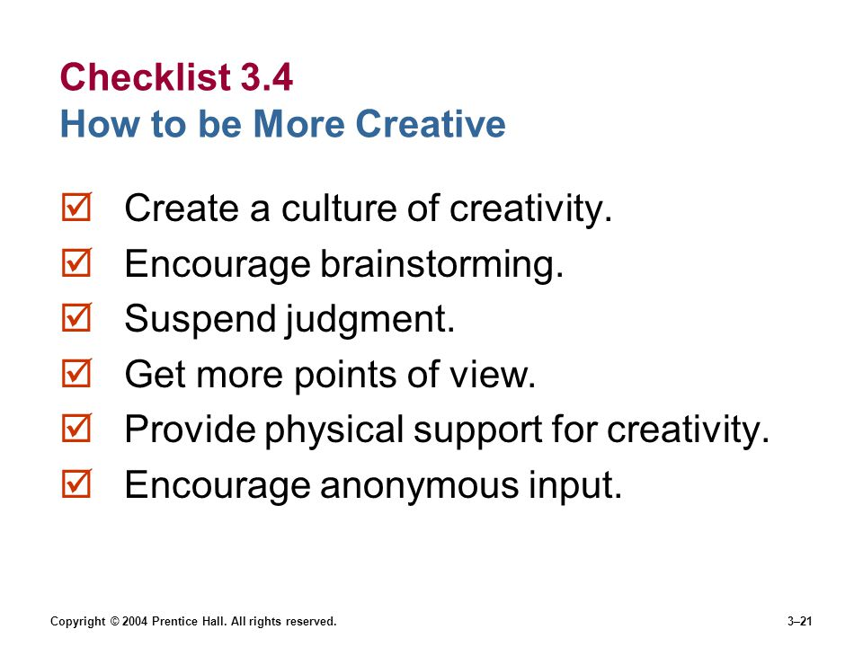 Checklist 3.4 How to be More Creative