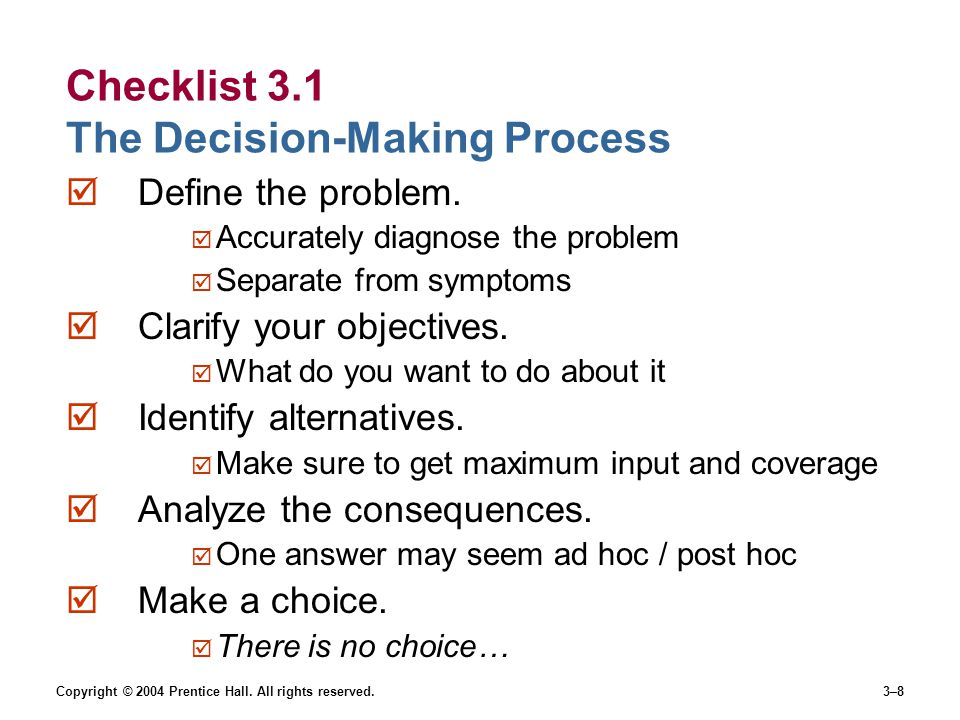 Checklist 3.1 The Decision-Making Process