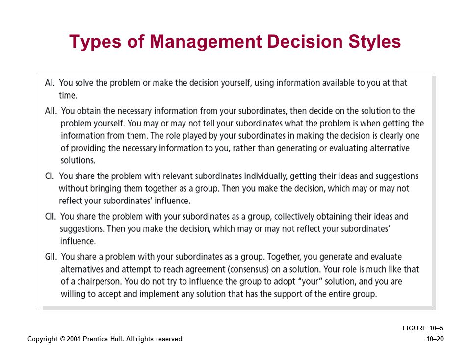 Types of Management Decision Styles