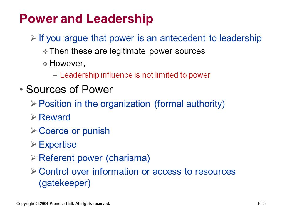 Power and Leadership Sources of Power