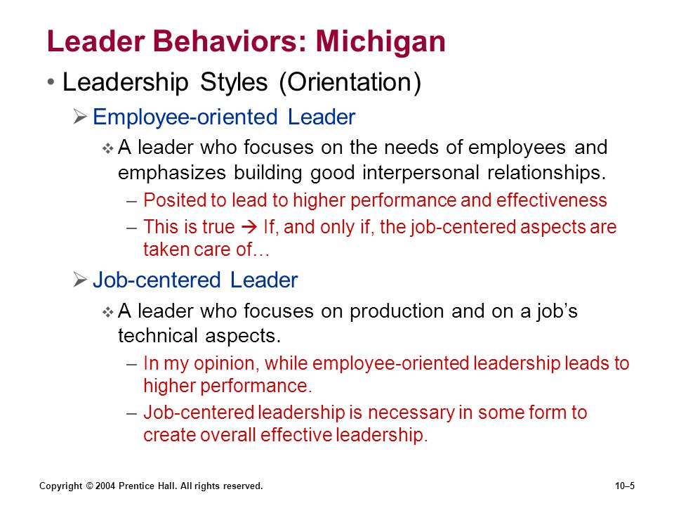 Leader Behaviors: Michigan