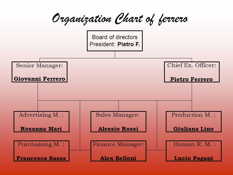 Organization Chart of ferrero