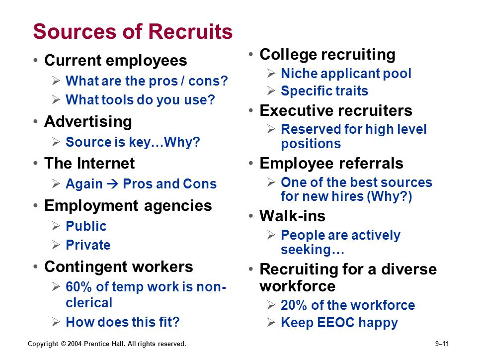 Sources of Recruits College recruiting Executive recruiters