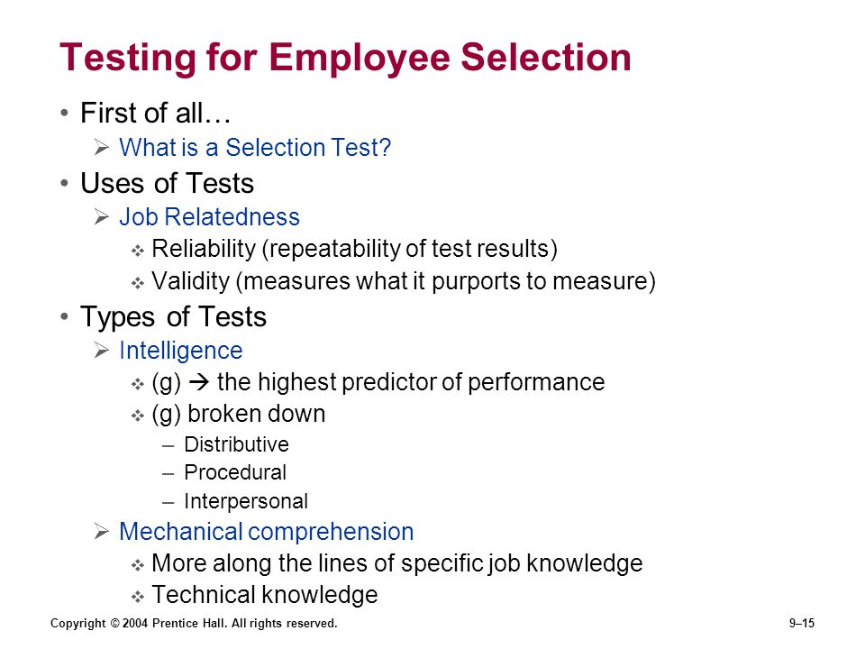 Testing for Employee Selection