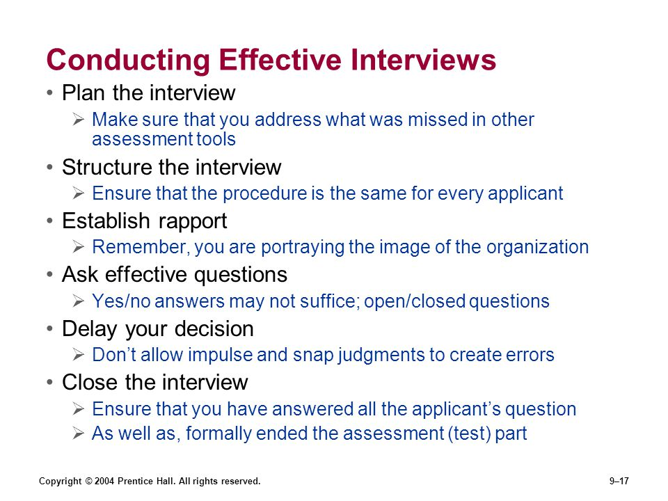 Conducting Effective Interviews