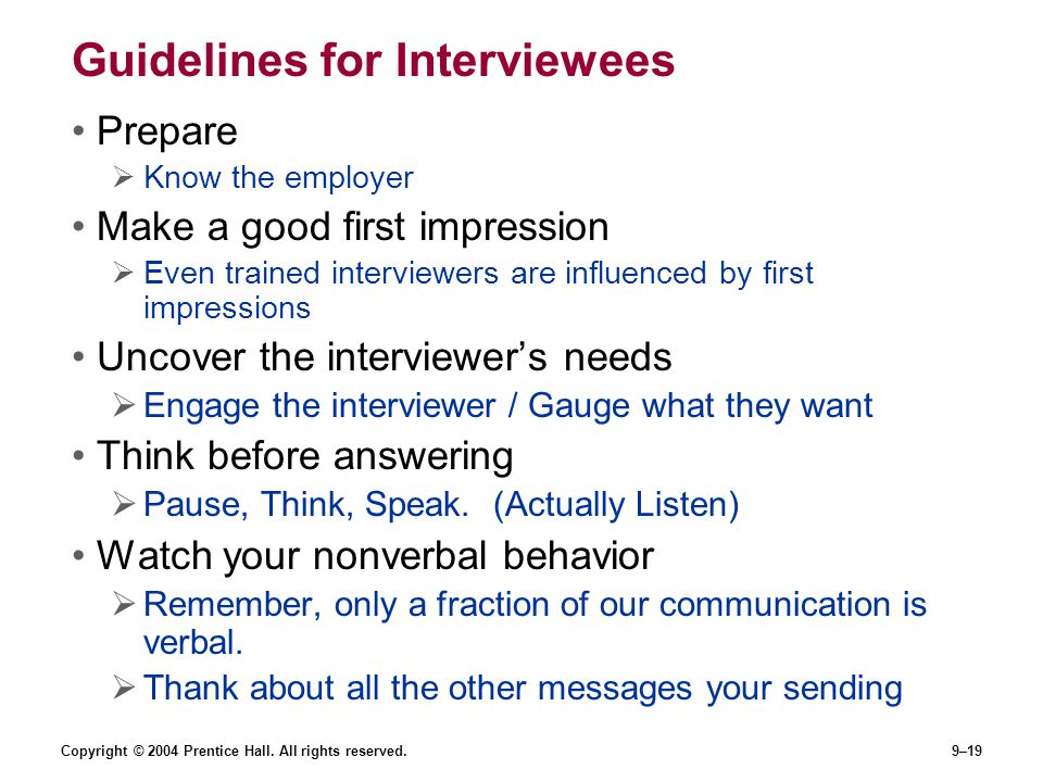 Guidelines for Interviewees