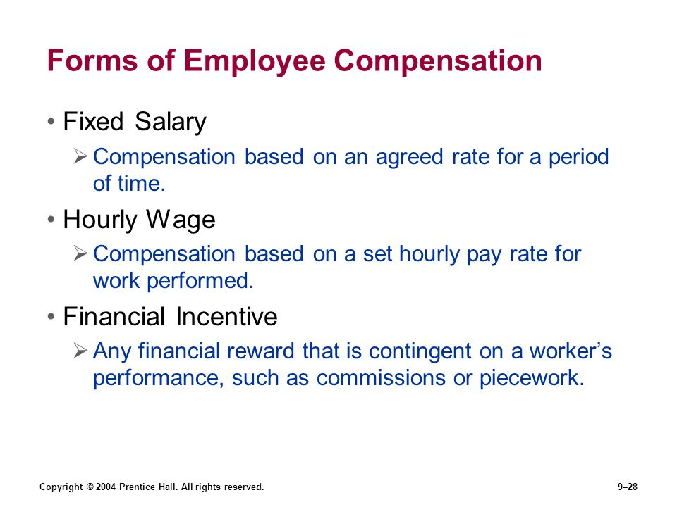 Forms of Employee Compensation