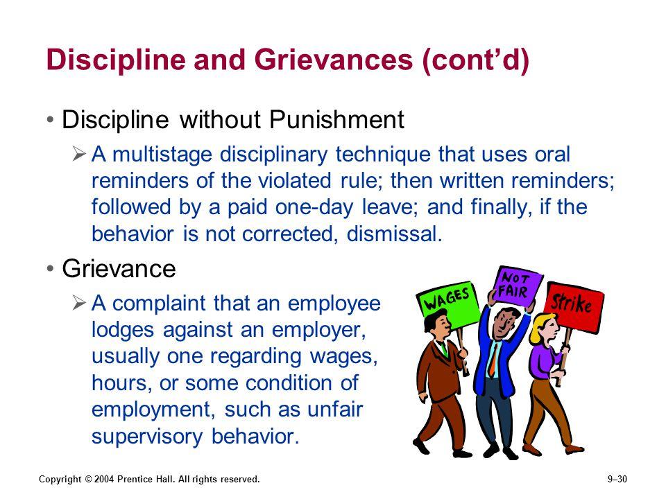 Discipline and Grievances (cont'd)
