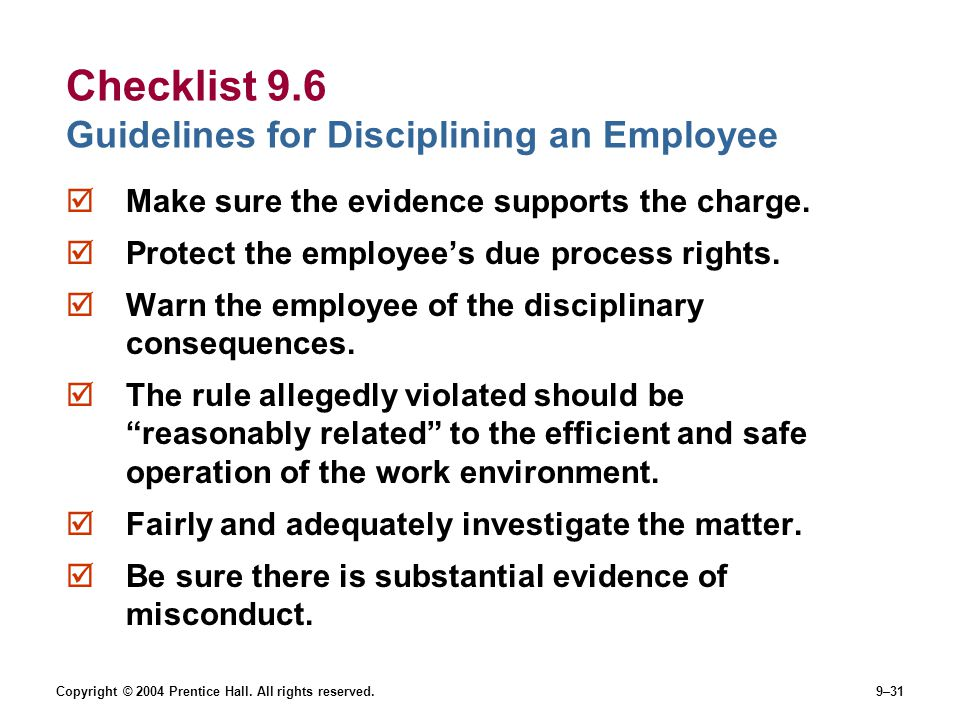 Checklist 9.6 Guidelines for Disciplining an Employee