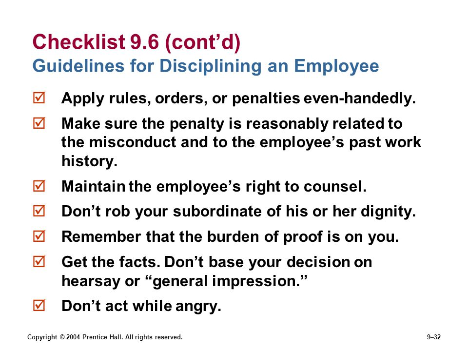 Checklist 9.6 (cont'd) Guidelines for Disciplining an Employee