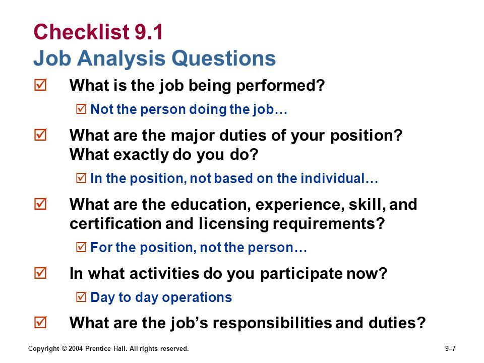 Checklist 9.1 Job Analysis Questions