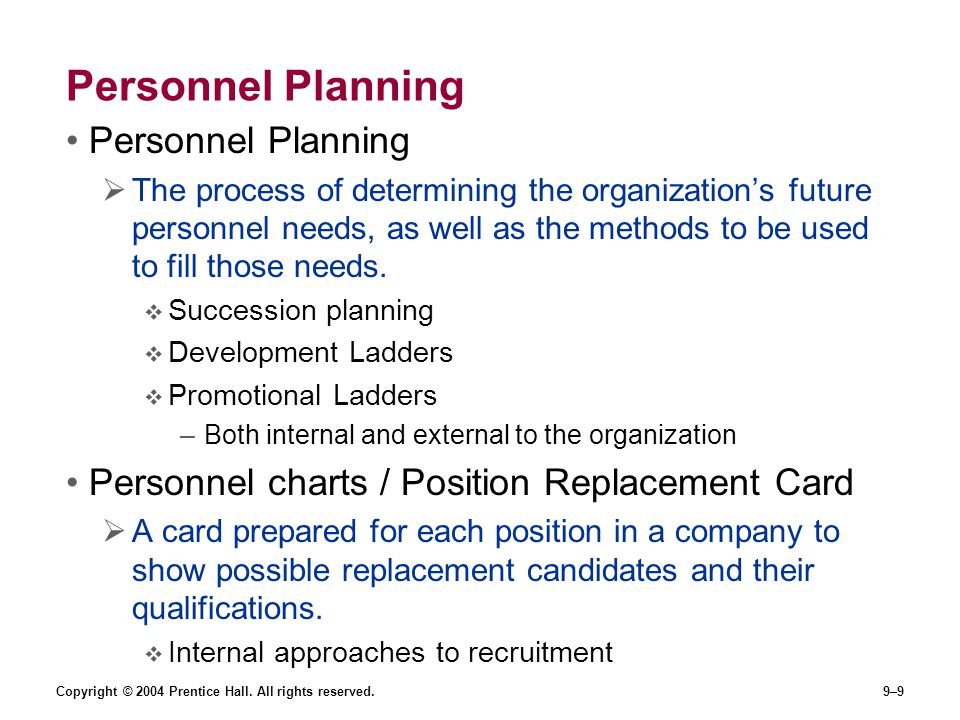 Personnel Planning Personnel Planning