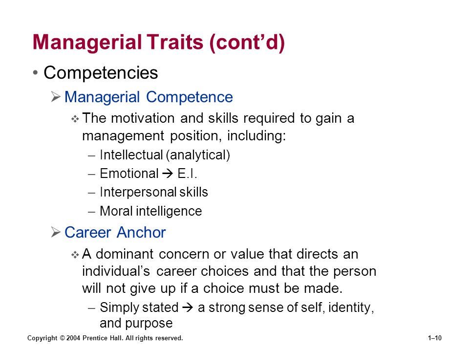 Managerial Traits (cont'd)