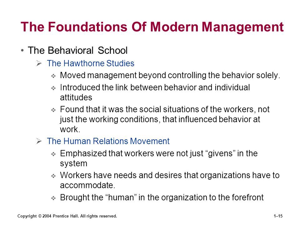 The Foundations Of Modern Management