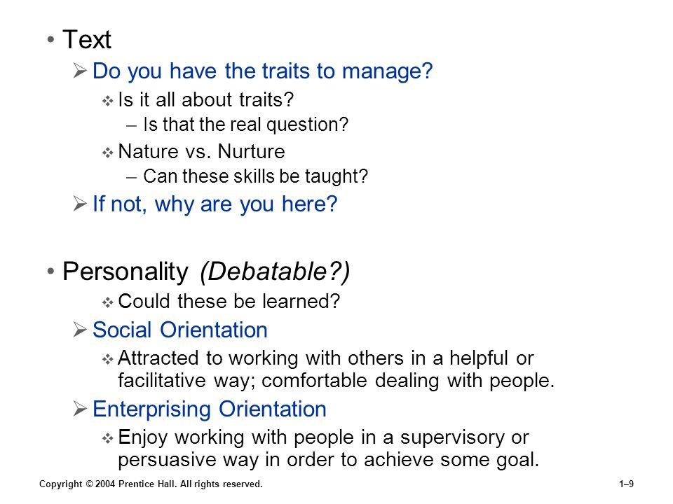Personality (Debatable )