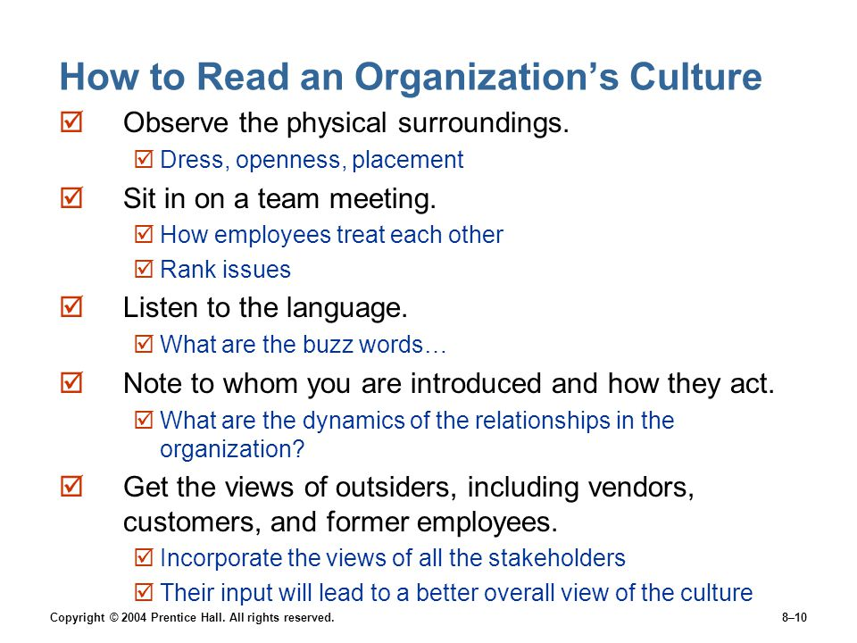 How to Read an Organization's Culture