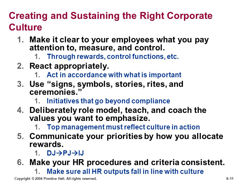Creating and Sustaining the Right Corporate Culture