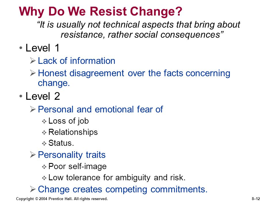 Why Do We Resist Change Level 1 Level 2