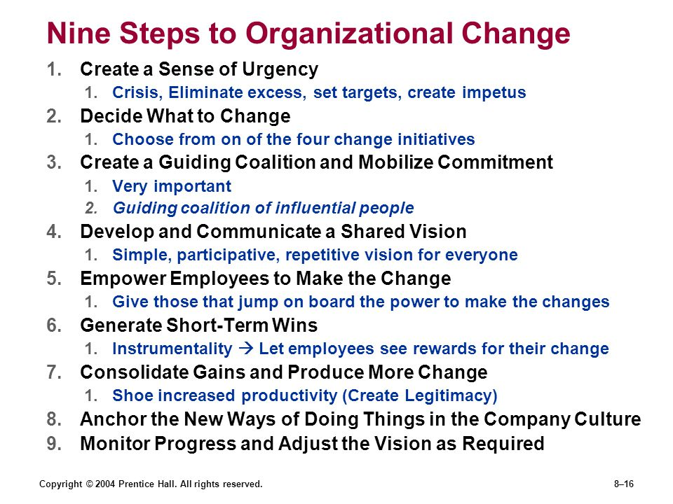 Nine Steps to Organizational Change