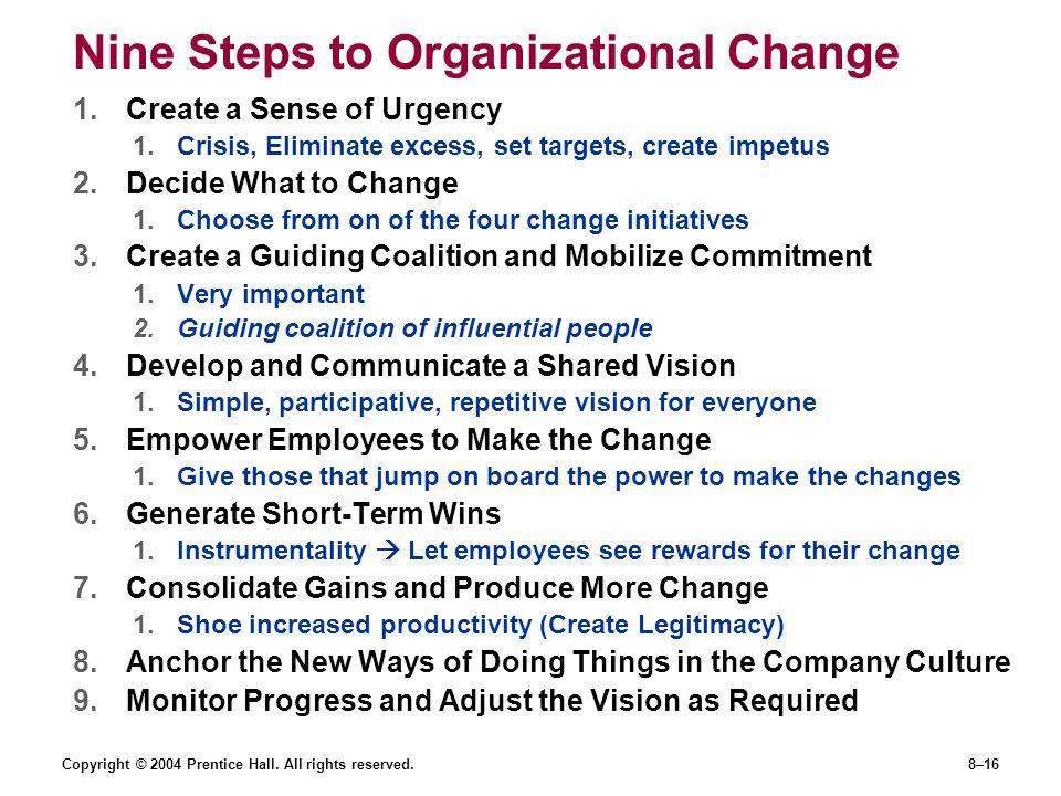 Nine Steps to Organizational Change