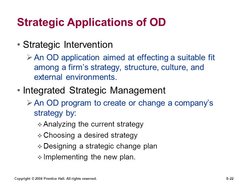 Strategic Applications of OD