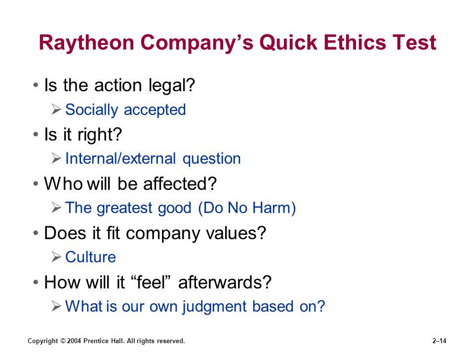 Raytheon Company's Quick Ethics Test