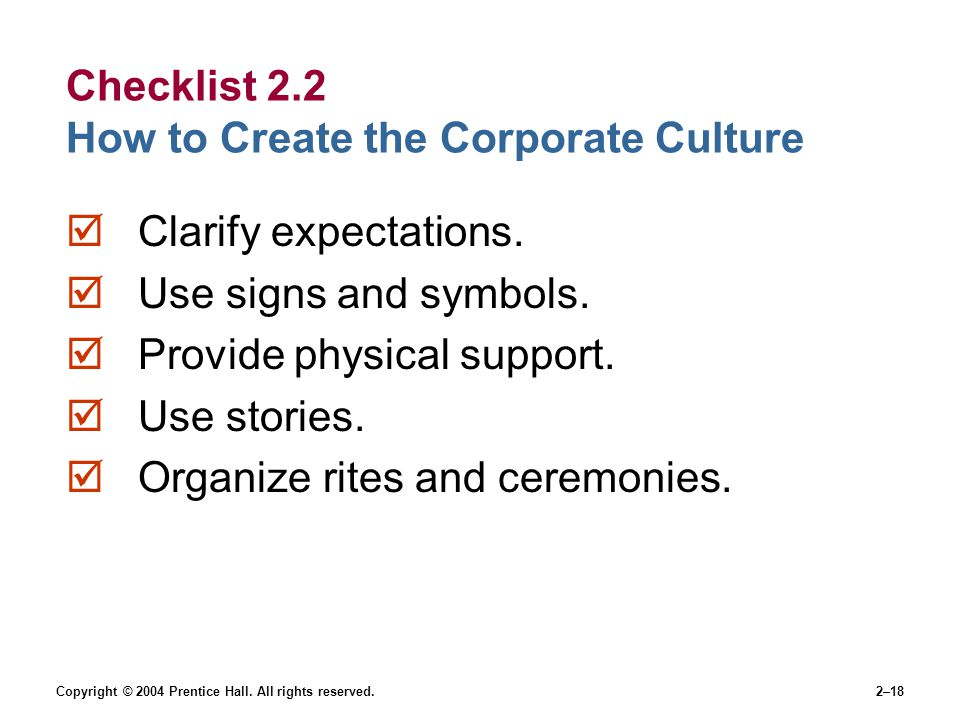 Checklist 2.2 How to Create the Corporate Culture