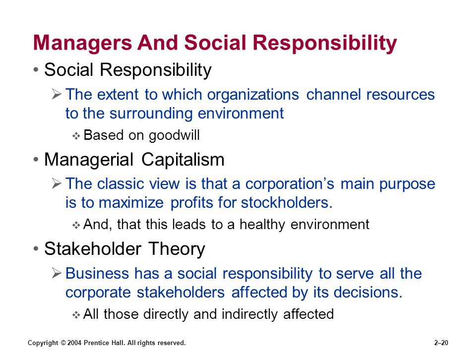 Managers And Social Responsibility