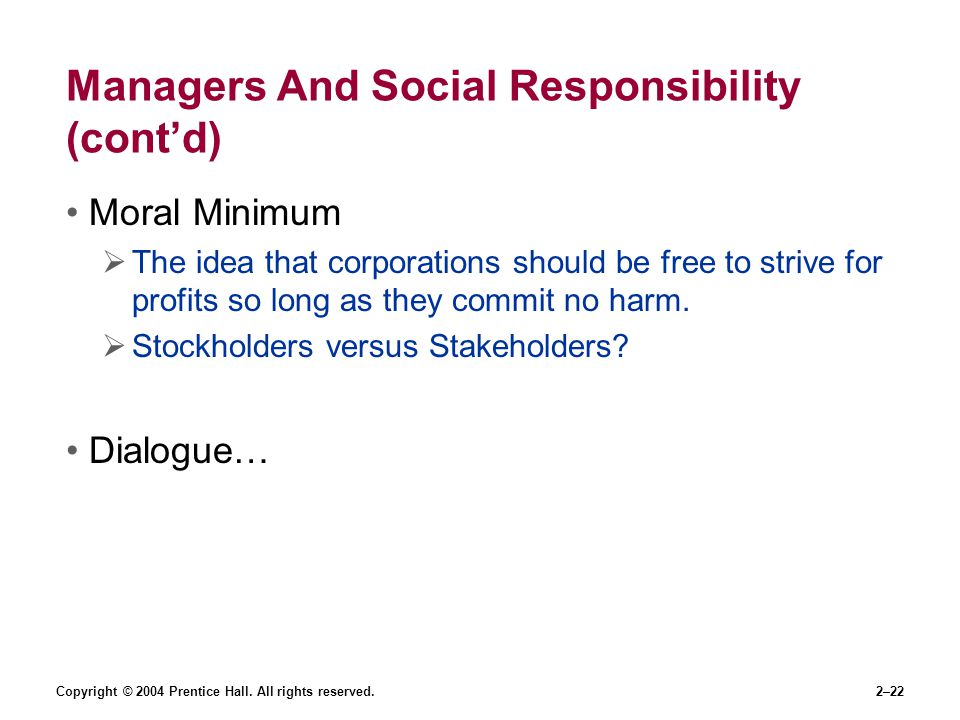 Managers And Social Responsibility (cont'd)