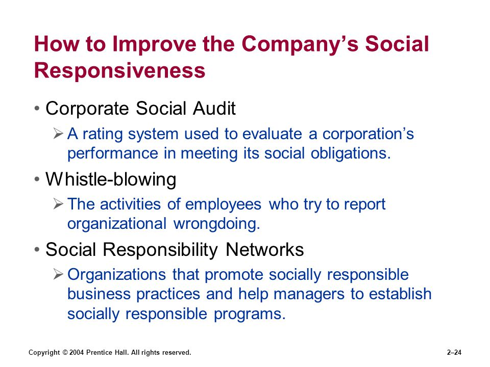 How to Improve the Company's Social Responsiveness