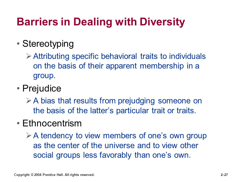 Barriers in Dealing with Diversity