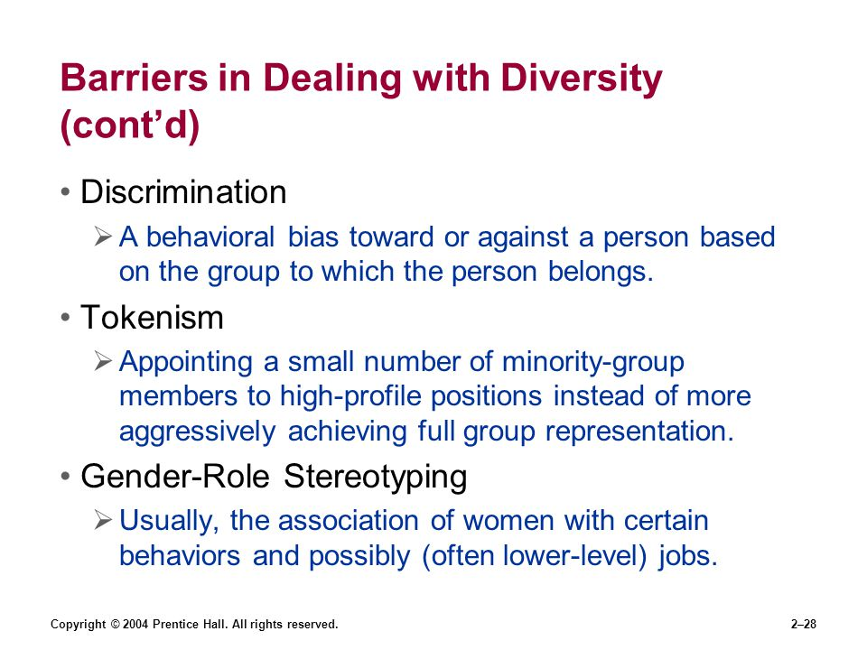 Barriers in Dealing with Diversity (cont'd)