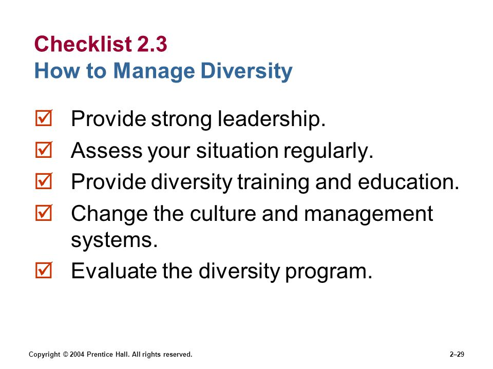 Checklist 2.3 How to Manage Diversity