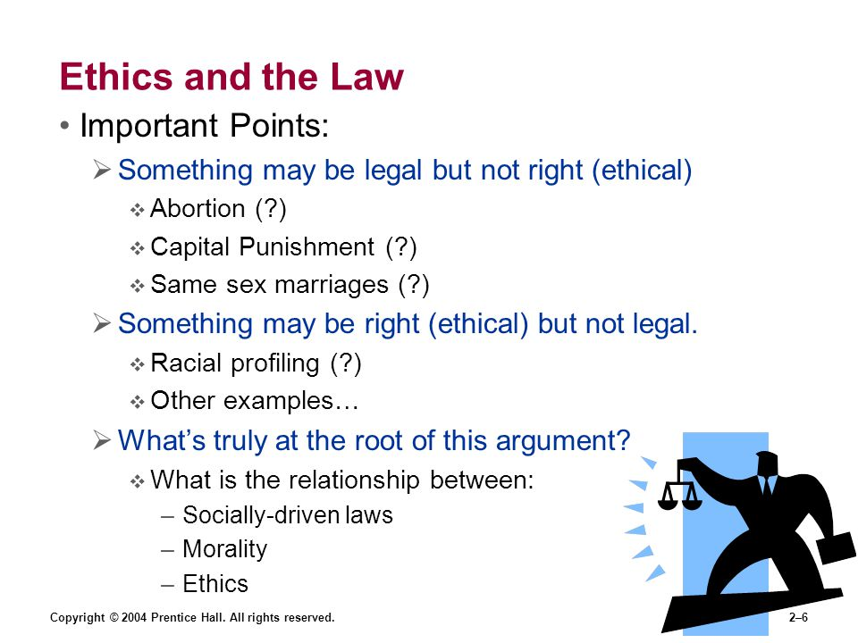 Ethics and the Law Important Points: